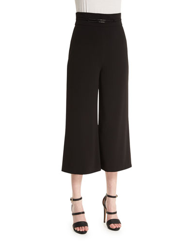 High-Waist Wide-Leg Cropped Pants