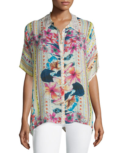 Mellow Fields Short-Sleeve Georgette Top, Multi Colors, Plus Size
