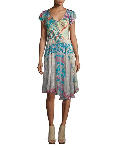 Flaire Fields Printed Slip Dress