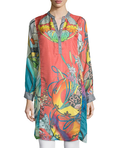 Yokina Long-Sleeve Printed Silk Slip Dress