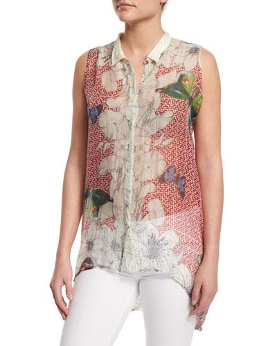 Sleeveless Silk Butterfly-Print Tunic