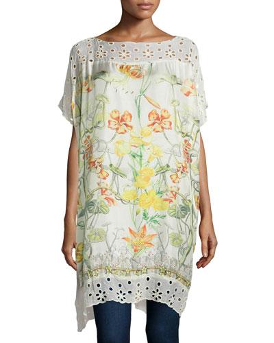 Floral-Print Long Poncho Tunic