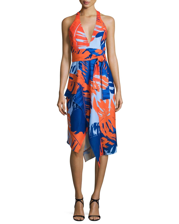 Halter-Neck Palm-Print Dress, Palm Print