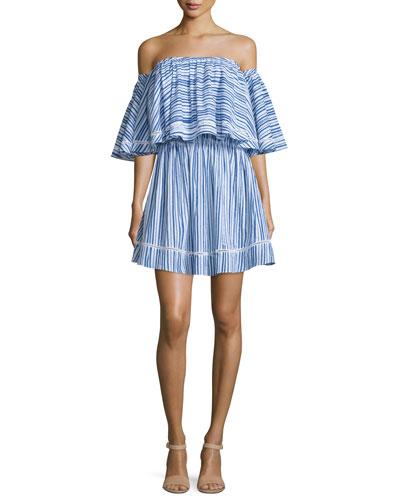 Off-The-Shoulder Frill Dress, Washed Stripe