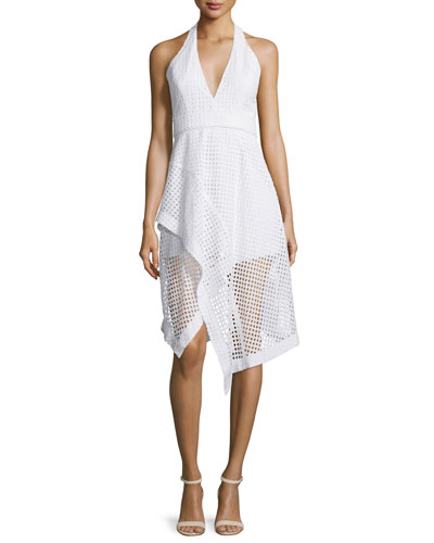 Halter-Neck Broderie Ruffle Dress, White
