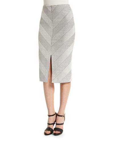 Textured Ponte Pencil Skirt, Black/Natural