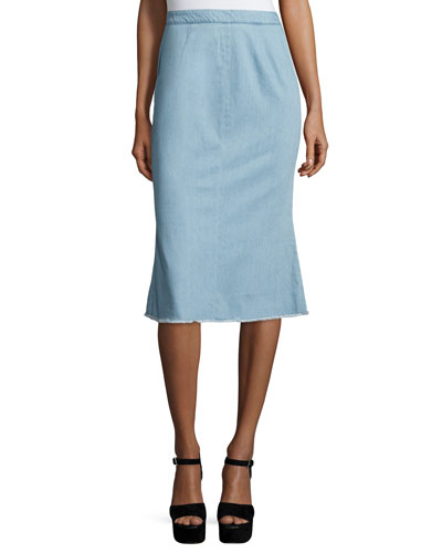 Fluted-Hem Denim Skirt, Light Blue