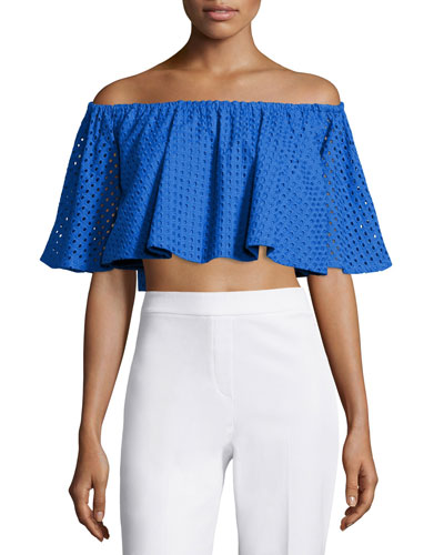 Off-The-Shoulder Crop Top, Cornflower