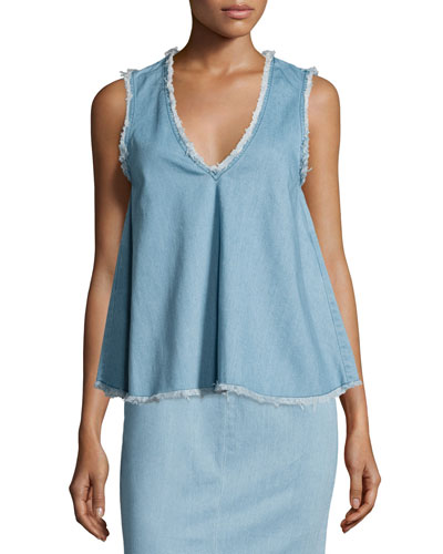 Sleeveless Raw-Edge Denim Top, Blue