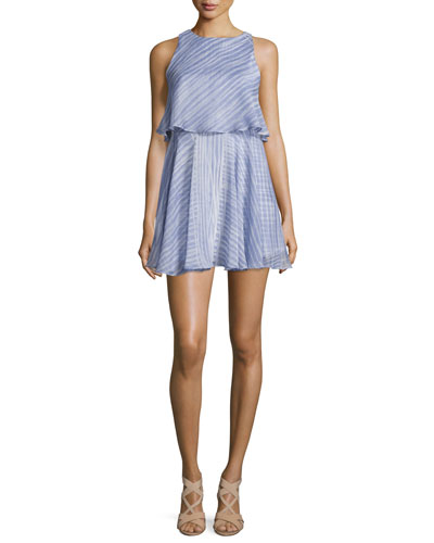 Sleeveless Round-Neck Flounce Popover Dress, Iris Engin