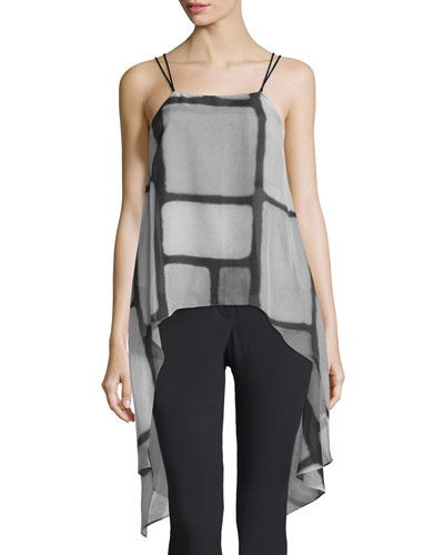 Sleeveless Printed Cami w/ Asymmetric Hem