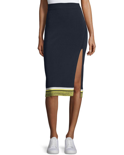 Sheridan Ribbed High-Slit Pencil Skirt, Navy