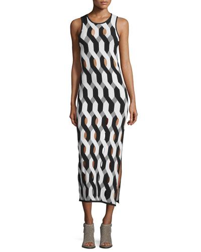Olympia Printed Cutout Midi Dress, Black/White