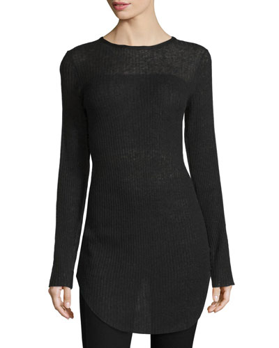 Marisol Long-Sleeve Ribbed Tunic, Black