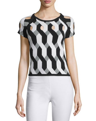 Olympia Short-Sleeve Printed Cutout Top, Black/White