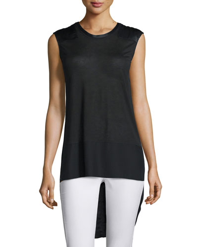 Riley Sleeveless Silk-Blend Top, Black