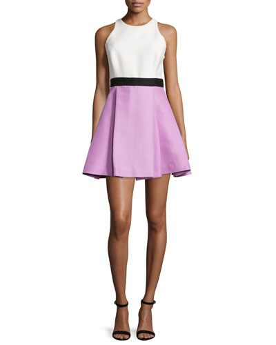 Sleeveless Colorblock Fit & Flare Dress