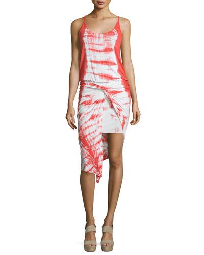 Kulani Sleeveless Twist-Front Dress, Papaya Alligator