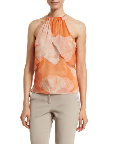 Halter-Neck Printed Top, Terracotta Botanical