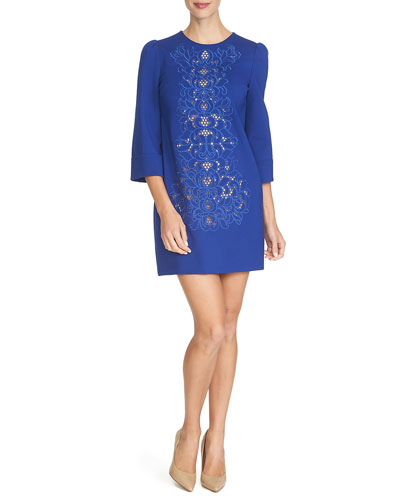 3/4-Sleeve Embroidered Shift Dress, Midnight Rush