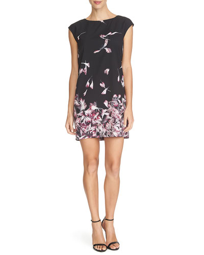 Cap-Sleeve Floral-Print Mini Dress, Rich Black