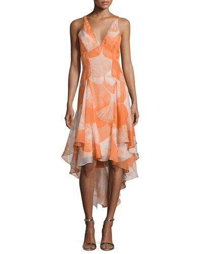 Sleeveless V-Neck High-Low Dress, Terracotta