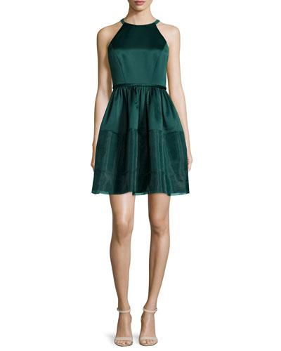 Jewel-Neck Fit-&-Flare Dress, Deep Jade