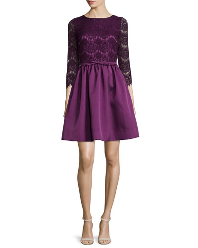 3/4-Sleeve Lace-Bodice Dress
