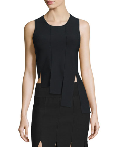 Asymmetric Paneled Tank, Black