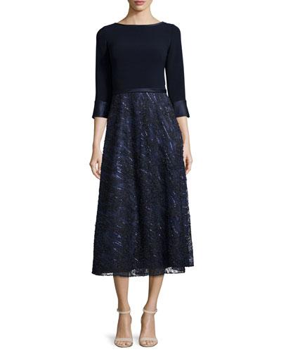 Embellished-Skirt Midi Cocktail Dress, Navy