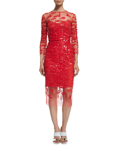 3/4-Sleeve Embellished Sheath Dress, Strawberry Red