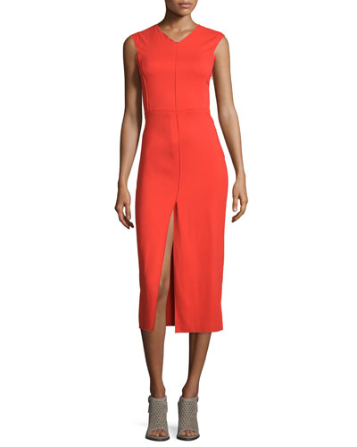 Sleeveless Cross-Back Midi Dress, Sunburst