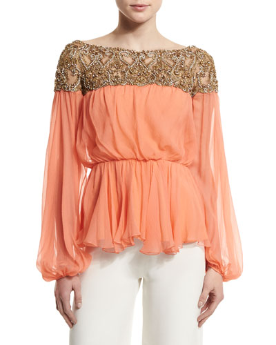Embellished-Yoke Peasant Blouse, Coral