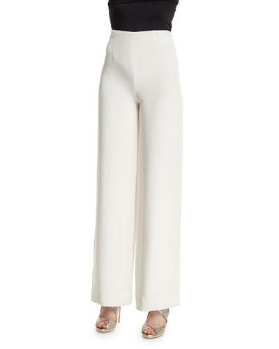 High-Waist Wide-Leg Pajama Pants, Ivory