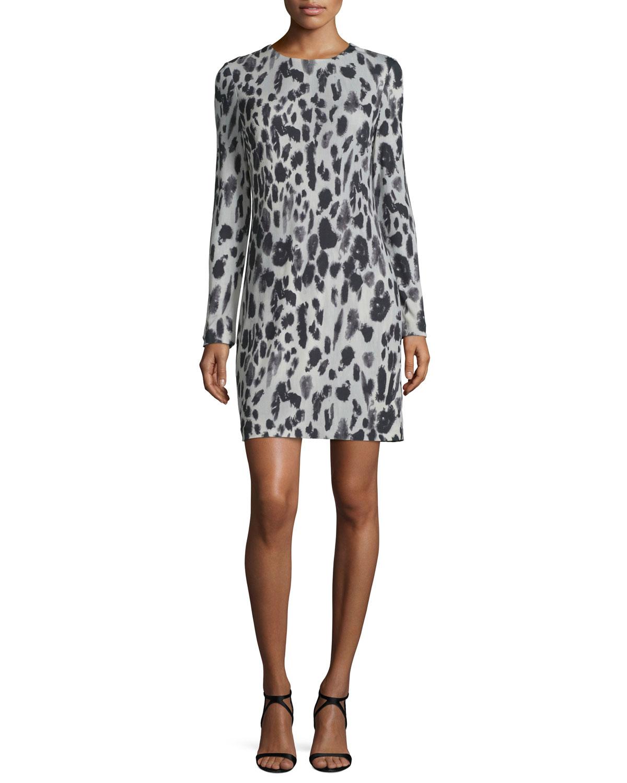 Long-Sleeve Animal-Print Jersey Dress