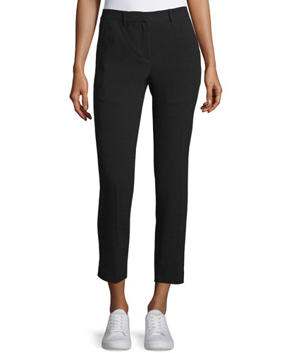 Arrow Cropped Straight-Leg Pants, Black
