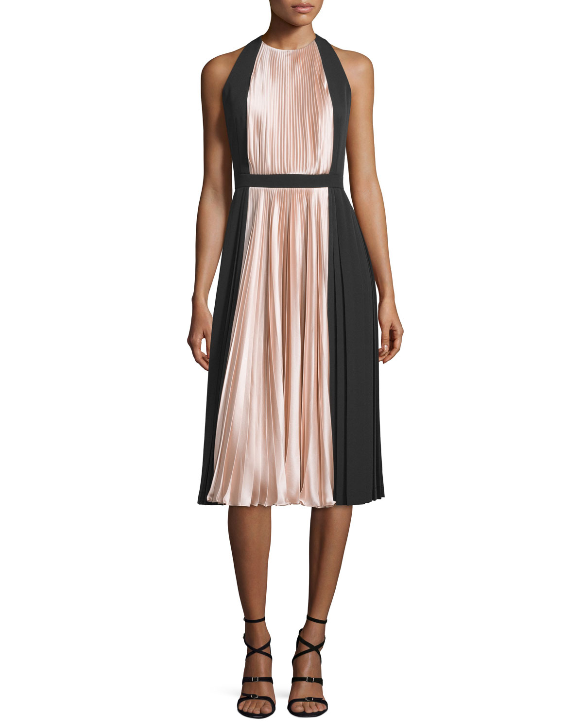 Sleeveless Colorblock Pleated Cocktail Dress
