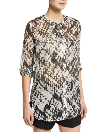 Basketweave-Printed Button-Down Silk Shirt