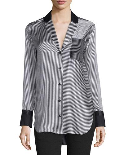 Farah Silk Charmeuse Striped Blouse, Black/White
