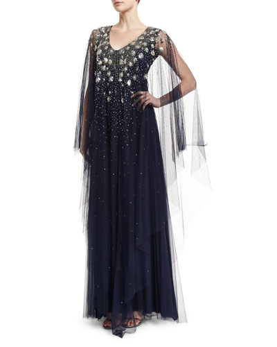 Cape-Sleeve Embellished Caftan Gown, Navy