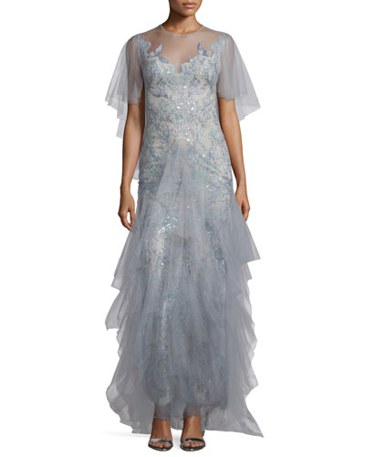 Embellished Evening Gown W/Cape, Light Blue