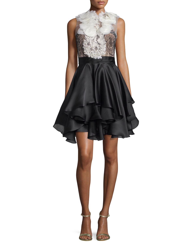 Ruffled Full-Skirt Cocktail Dress, Ivory/Black