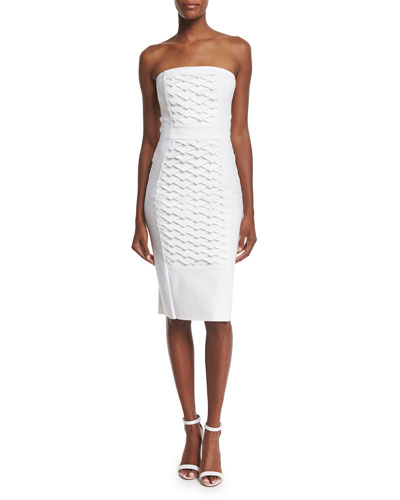 Strapless Fish Scale Textured Sheath Dress, White