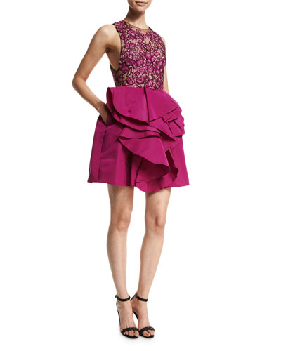 Sleeveless Embroidered-Bodice Party Dress, Fuchsia