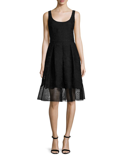 Fit-&-Flare Mesh-Hem Dress, Black