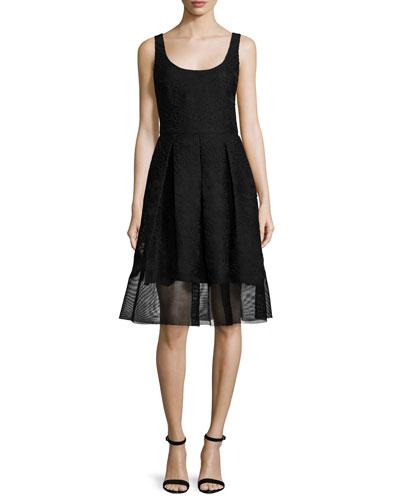 Fit-&-Flare Mesh-Hem Dress, Black