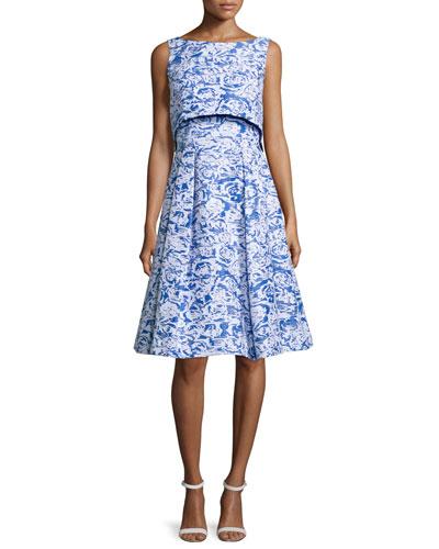 Sleeveless Floral-Print Popover Dress, Ocean