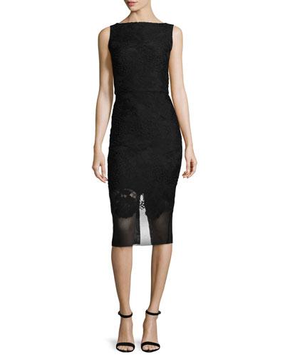 Bateau-Neck Mesh-Hem Sheath Dress, Black