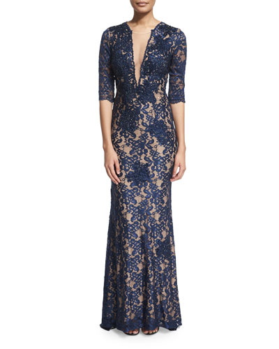 3/4-Sleeve V-Neck Lace Mermaid Gown