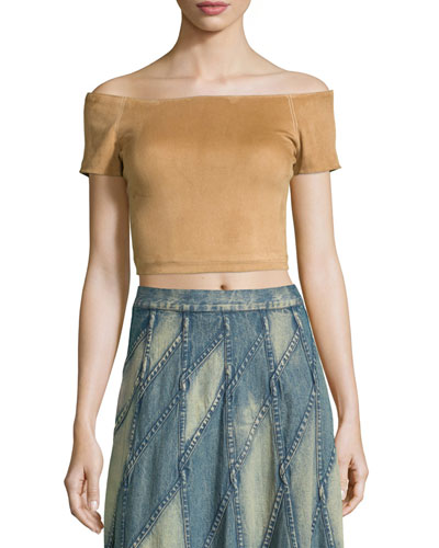 Gracelyn Suede Off-the-Shoulder Cropped Top, Tan